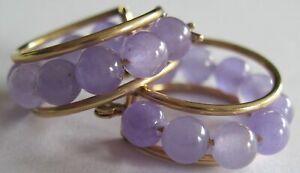 Lavender Jade ? Beads 14k Yellow Gold Hoop Earrings
