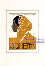Schokolade Riquetta XL Reklame 1921 Ludwig Hohlwein Inderin Exotik Nasenring
