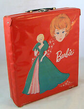 Vintage Barbie Doll Red Vinyl Trunk Carrying Case Wardrobe 1963 Mattel Ponytail