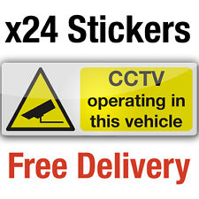 24 CCTV camera in vehicle adhesive vinyl stickers 8x3cm car taxi bus sign decals