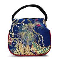 Peacock Shoulder Bag Chic Women Floral Embroidered Ethnic Style Handbag Tote