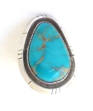 Navajo Ray Delgarito 1.5 Inch Long Sterling Silver & Turquoise Ring, SZ 10.5