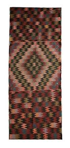 Turkish Traditional Hand-Woven Kilim Vintage Red Runner Rug 99 x 300 cm