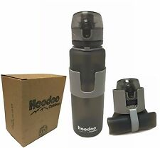 Hoodoo Outdoors Collapsible Water Bottle - Pop Top - BPA Free - 22 Ounce - Gray
