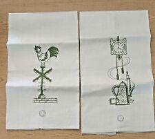 NEW 100% Irish Linen York Street Embroidered Dish Towels Tan Green VINTAGE