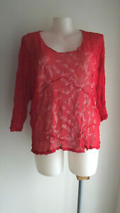 Red Mesh/Sheer 3/4 Sleeve Top .... TS .... Size: XL/24   #M0321