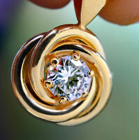 2 ct Round Pendant Russian CZ 14 kt Gold over SS