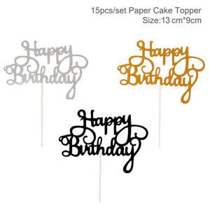 15 PCS Glitter Paper Happy Birthday Cake Toppers Cupcake Dessert Decor Supplies