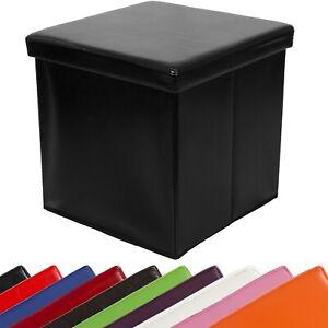 STILISTA Faltbarer Sitzhocker Sitzwürfel Aufbewahrungsbox Hocker Truhe Schwarz