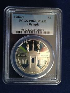 1984-S Olympic Proof Silver Dollar PCGS PR69DCAM E5502