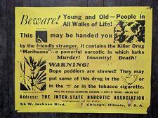 1950s-60s Vtg MARIJUANA ANTI DRUG POSTER marihuana Inter-State Narcotic Assoc.