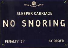 No Snoring Plaque Sign Sleeper Train Railway Carriage Notice Blue Enamel Metal
