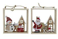 Decoración Árbol Navidad - Muñeco de Nieve Santa Escena Rústico Mesa Adorno