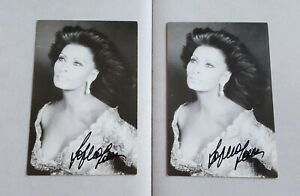 2 hand signed Sophia Loren B&W photos autographed authentic by Angelo Frontoni