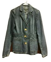 Banana Republic Womens Blue Jean Jacket Size 4 Denim Blazer Button Front