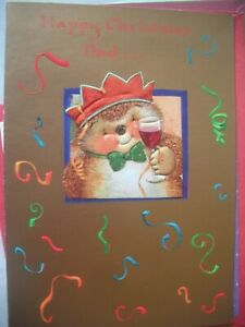 Happy Christmas DADIt's Time To Party (Hedgehog & Wine) Country Companions Card