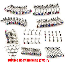 105pcs Wholesale Body Jewelry Eyebrow Navel Belly Tongue Nose Piercing Bar Ring