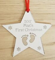 PERSONALISED BABY'S FIRST CHRISTMAS TREE DECORATION BAUBLE STAR GIFT SILVER