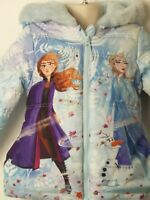 BNWT GIRLS DISNEY FROZEN 2 BLUE QUILTED HOODED COAT JACKET KIDS AGE 18-24 MONTHS