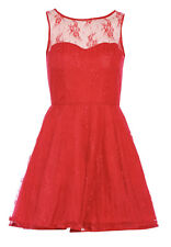 CORAL RED/ORANGE SKATER FLARED PARTY DRESS BY AX PARIS SIZE UK12/EUR40/US10