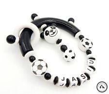 ♥ Greifling/Greifring mit Namen ★ Fußball/Panda in schwarz/weiss ★
