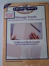 Tulip HeartCraft 3 blank GREETING CARD MESSAGE INSERTS pre-folded/self-adhesive
