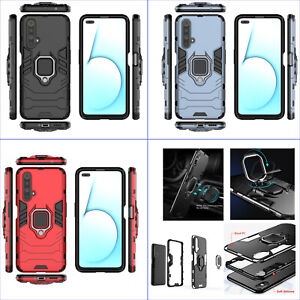 For Oppo Realme X50 5G, 3in1 Shockproof Rugged Grip Ring Car Holder Case +glass