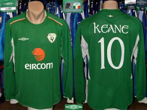 Vintage Republic Of Ireland Fai Umbro 2004/2006 Home #10 Keane Shirt Longsleeve