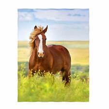 Qh 60 x 80 Inch Beautiful Horse Pattern Super Soft Throw Blanket for Bed Sofa Li