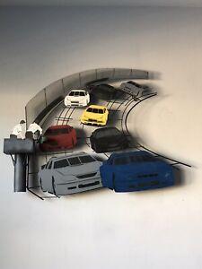 RARE C JERE NASCAR RACE TRACK METAL WALL SCULPTURE 1970s MID CENTURY MODERN CAR