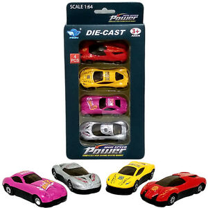 4-pcs Kids Mini Die Cast Cars Toys Set of 4 Play Solid Racing Cars Xmas Gift UK