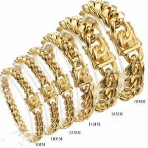 8mm-18mm Fashion 18K Gold Men's Miami Curb Cuban Chain Bracelet Stainless Steel