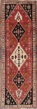 Geometric Kashkoli Abadeh Antique Runner Rug Tribal Hand-made RED 3'x10'