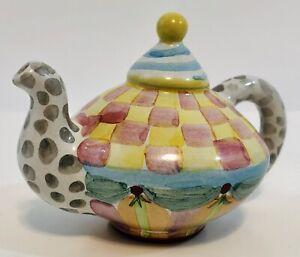 MacKenzie-Childs SUPER RARE Ceramic Miniature Light Topper Lamp Finial TEAPOT