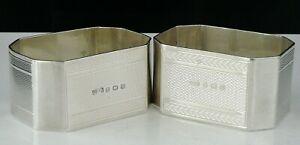 Pair Cased Silver Napkin Rings, C T Burrows & Sons, Birmingham 1944