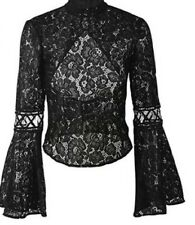 Black lace Backless Blouse New (m)