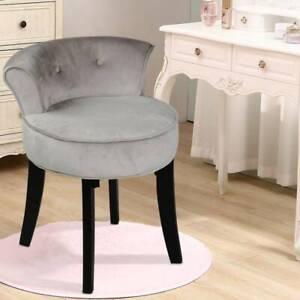 Upholstered Velvet Dressing Table Stool Chair Makeup Padded  Bedroom Furniture