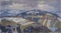 """Russischer Realist Expressionist Öl Leinwand """"Unwetter"""" 45x25 cm"""