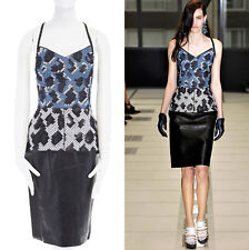 runway BALENCIAGA GHESQUIERE AW12 python wool bustier blac leather dress FR36 S