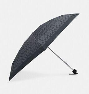 Authentic COACH Black And Gray UV Protection Signature Mini Umbrella NWT
