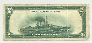$2 Series 1918 Battleship Federal Reserve Bank Note from District #4 (Cleveland)