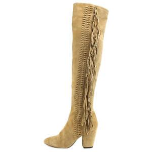 REBECCA MINKOFF Women's Inez Taupe Fringe Over-the-Knee Boots NIB