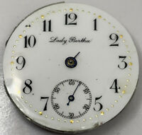 Lady Bertha Pocket Watch Movement Gilded Dial 0s 15j Swiss for repair F3682