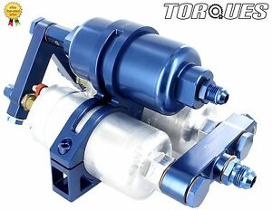 Twin Bosch 044 Fuel Pumps+Billet HighFlow Filter Manifold Cradle Billet Assembly