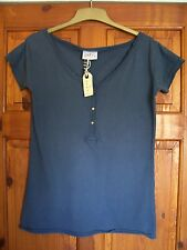 Rebel ladies Blue T shirt top size XS approx 8 -10 raw edged faded cotton