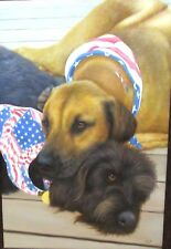 Len American Patriotic Dogs Huge Original Oil On Canvas Painting