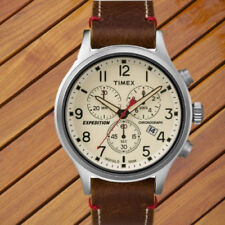 Timex Mens Expedition Scout Chrono Watch Brown Leather Slip-Thru Strap 0.16 lb
