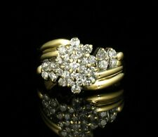 ZALES SIGNED ROUND NATURAL 1.14ctw DIAMOND SOLID 14K YELLOW GOLD CLUSTER RING