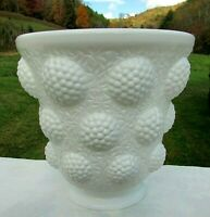 "Fenton Vintage Glass Vase Vessel of Gems 1968 Glossy Milk Glass 6.75""H-6.75""W"