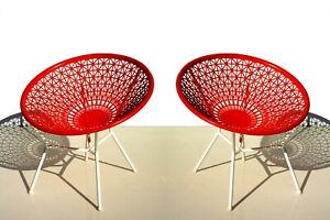 French Space Age Lounge Chairs, 1960s Set of 2 Outdoor garden Armchairs